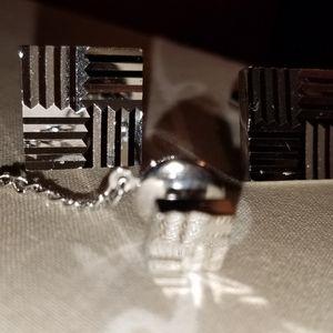 Mens Vintage Herringbone Cufflinks and Tie tack